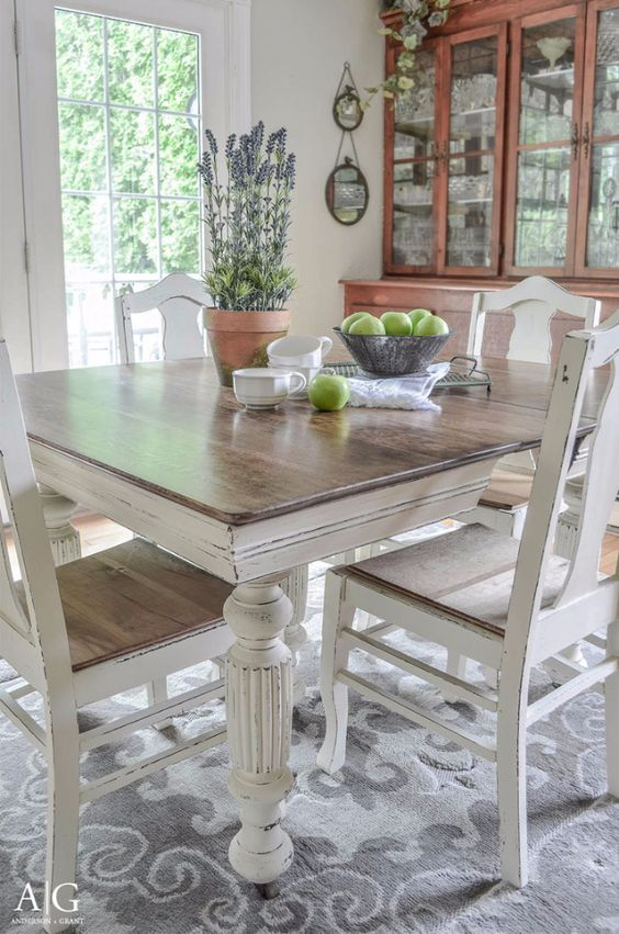 Picture of farmhouse table and chairs in distressed white chalk paint