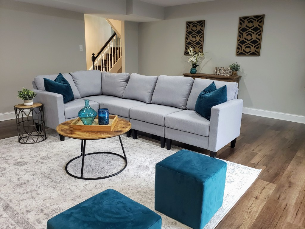 gray sectional with modern blues