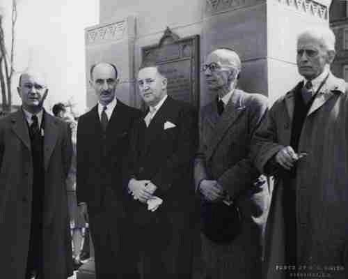 L to R- Hon. J.B. McNair (Premier of NB); Dr. M.F. Gregg (President of UNB); Hon. D.L. MacLaren (Lt.-Gov. of NB); Rt. Hon. Vincent Massey, Dr. J.C. Webster