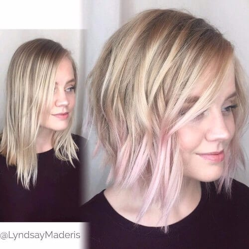 asymmetrical bob haircut blonde hair