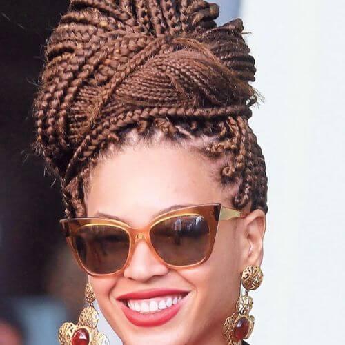 box braids high bun