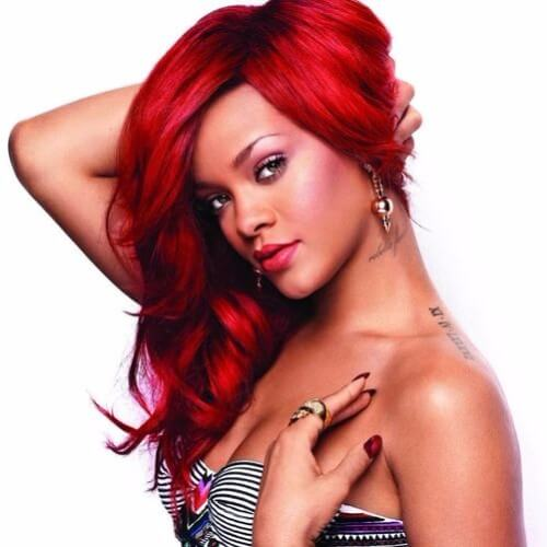 wine burgundy hair Rihanna