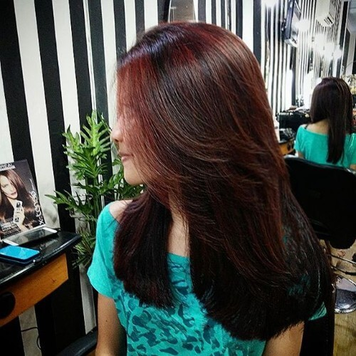 long layered mahogany hair