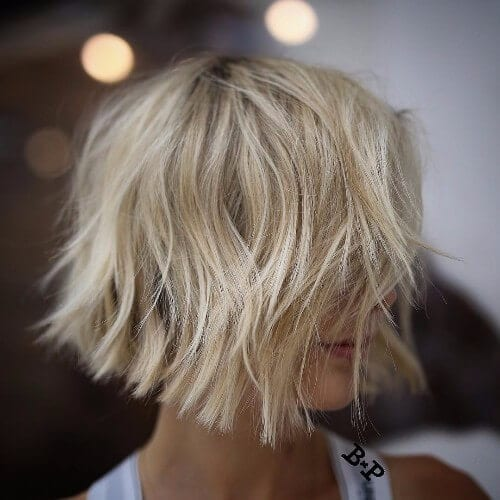 blonde lob cut