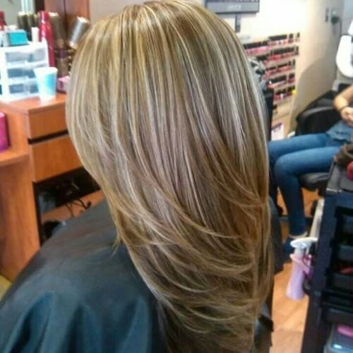Honey Blonde and Wispy Brown Highlights