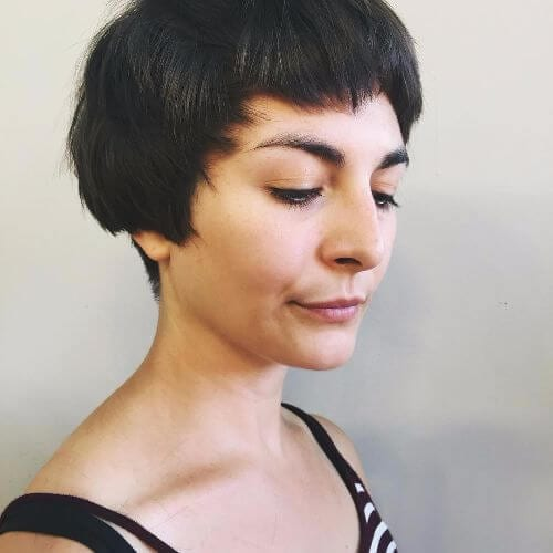 pixie cut on brunette hair