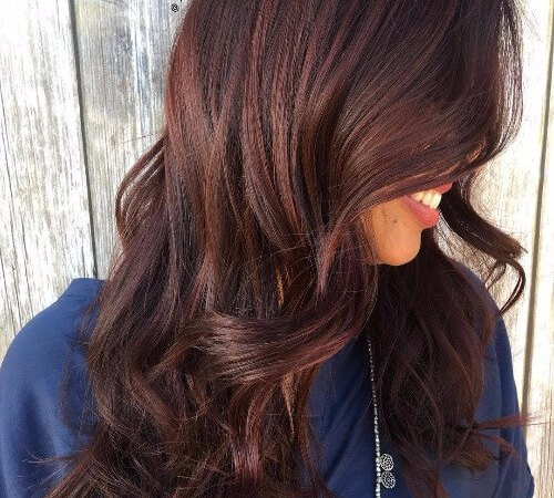 long wavy red brown hair