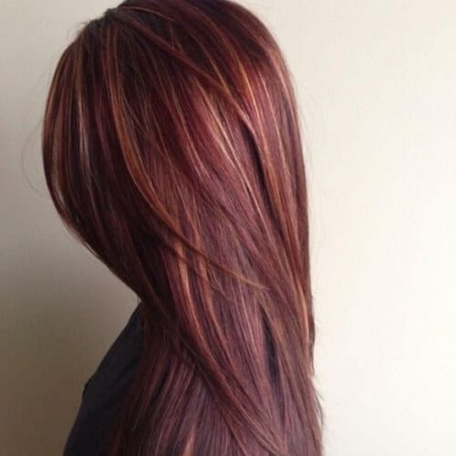 Reddish Brown Hair Color with Highlights
