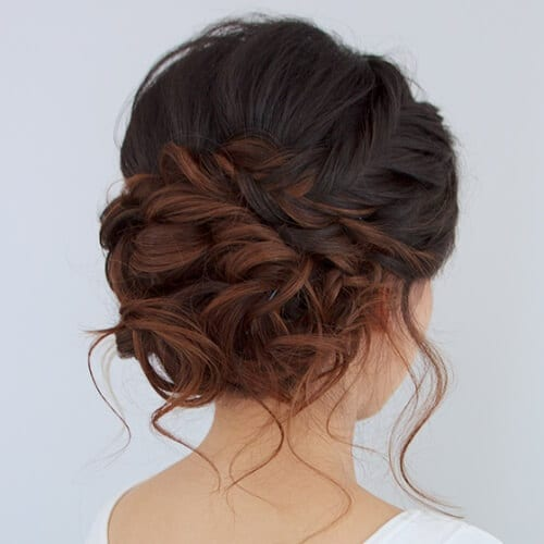 Reddish Brown Ombre Updo