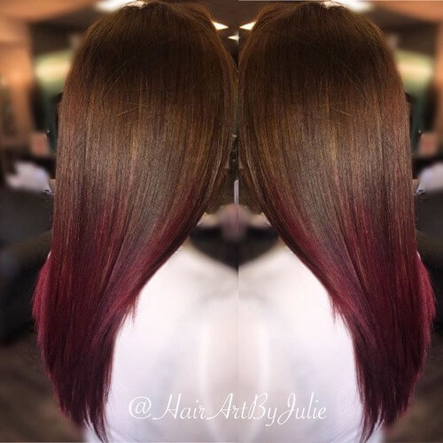 30 burgundy hair ideas for blonde red and brunette hair burgundy ombre on chocolate hair pmusecretfo Choice Image