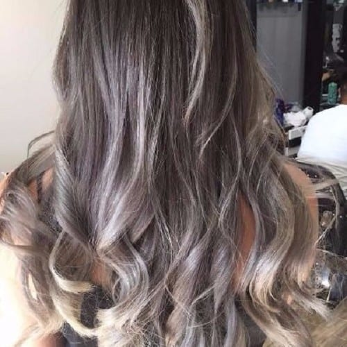 ash blonde highlights long brown hair