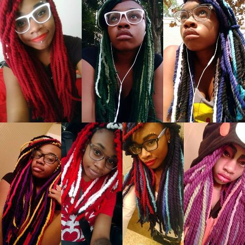 colorful yarn twist braids