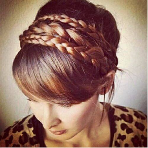 high bun double braided updos