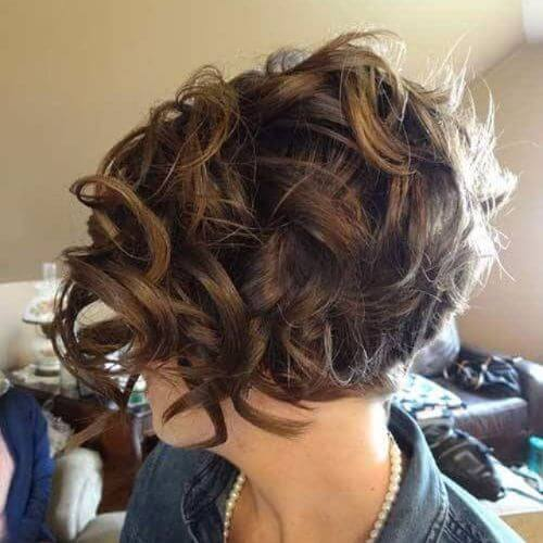 curly bob hairstyle on caramel hair