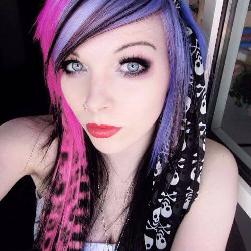 purple coontail hair emo hairstyles for girls