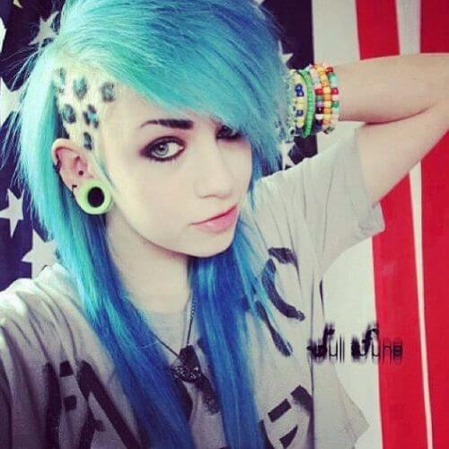 blue hair undercut emo hairstyle