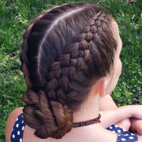 low bun dutch braided updos