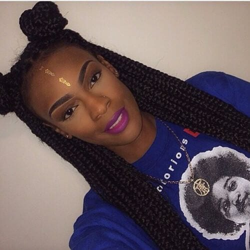 double buns box braids styles
