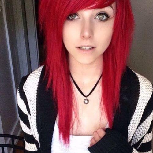 red layered hair
