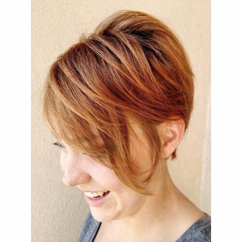 pixie haircut on caramel hair
