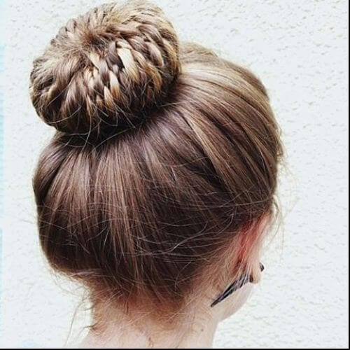 rope braids high bun