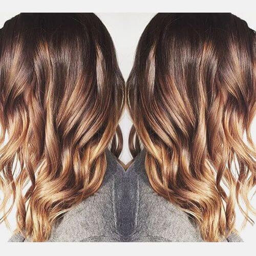 red caramel highlights for long hair