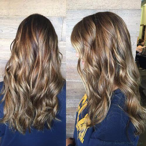 wavy hair with caramel highlights