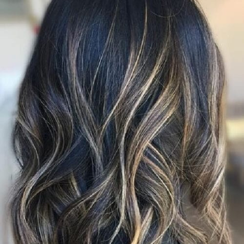 Black Hair and Wispy Blonde Highlights