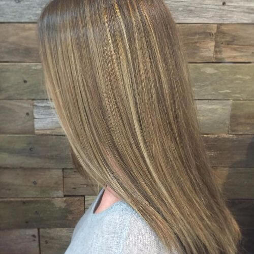 dark blonde hair with caramel balayage