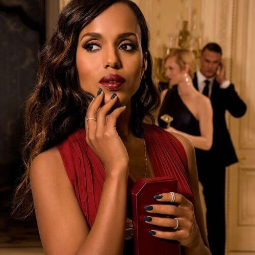 kerry washington hairstyle with burnt caramel highlights on long dark hair