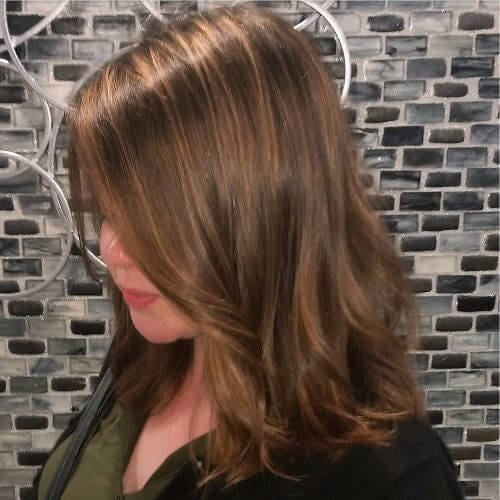 light caramel highlights on brown hair
