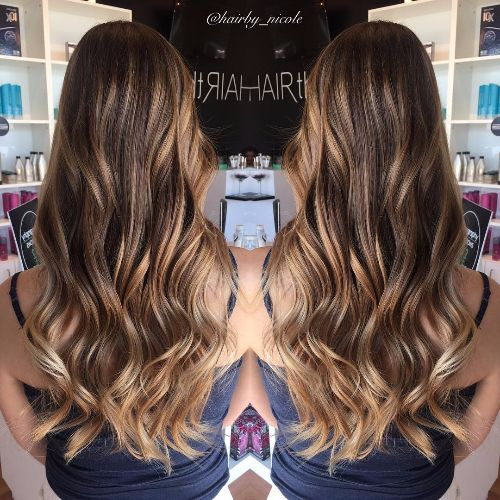 caramel highlights on wavy chocolate brown hair