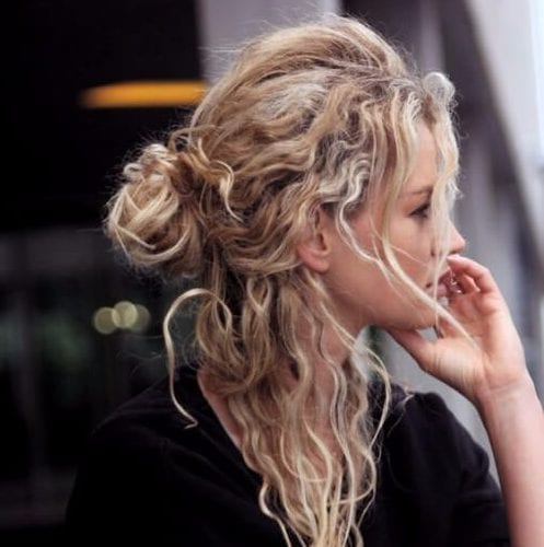 hairstyles for curly hair messy half bun