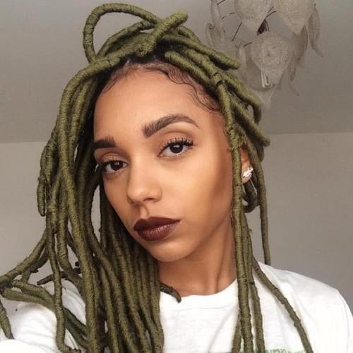 olive green twist braids