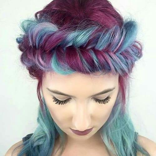 teal and burgundy hair