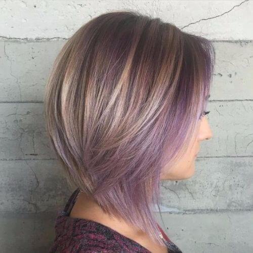 ash brown bob haircut with purple balayage