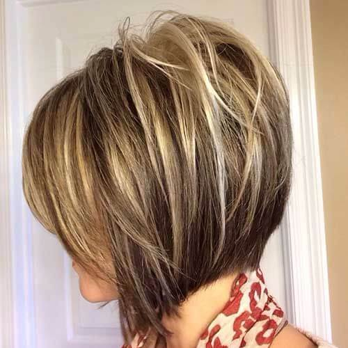 highlighted inverted bob haircut