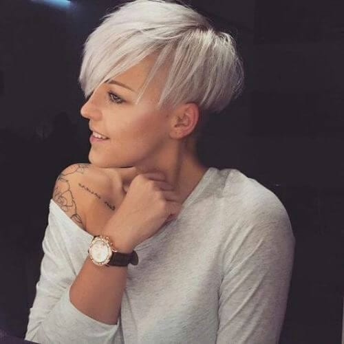 icy blonde hair and pixie cut