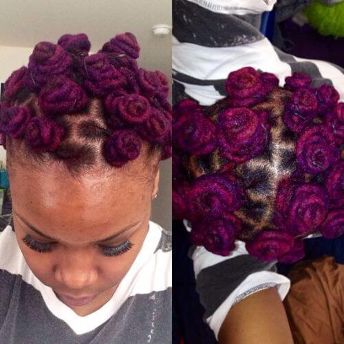 purple dyed bantu knots