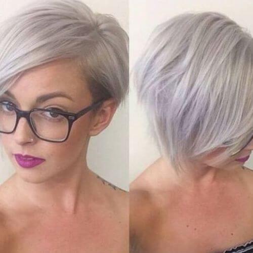 silver shade pixie cut