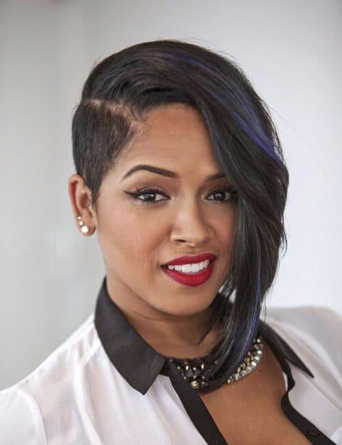 assymetrical bob short hairstyles for black women
