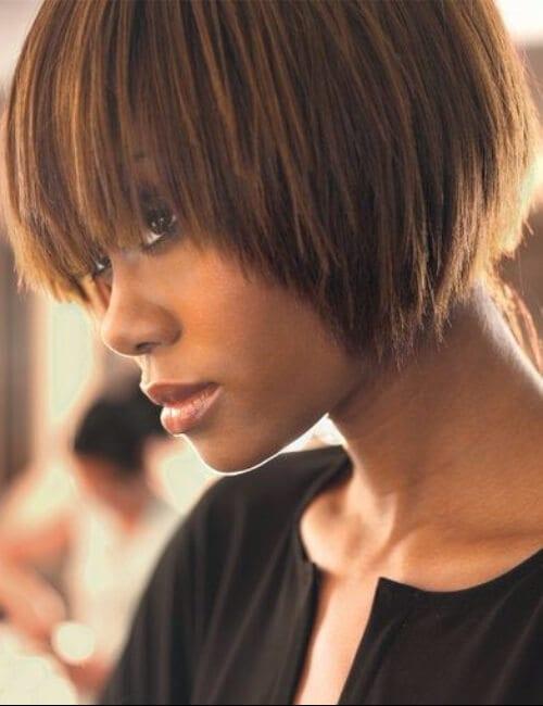 caramel short hairstyles for black women