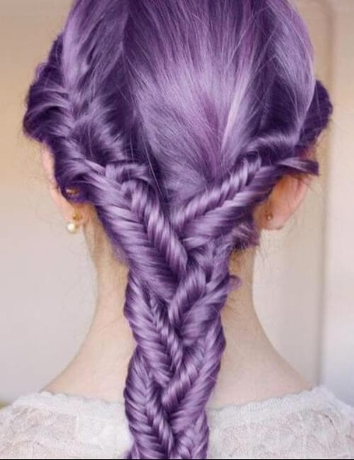 fishtail purple hair
