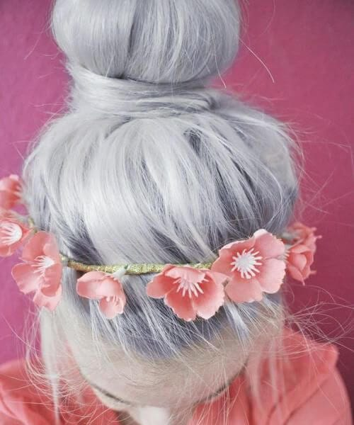 grey hair pink poppies head band
