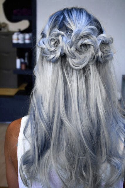 grey hair rose knots