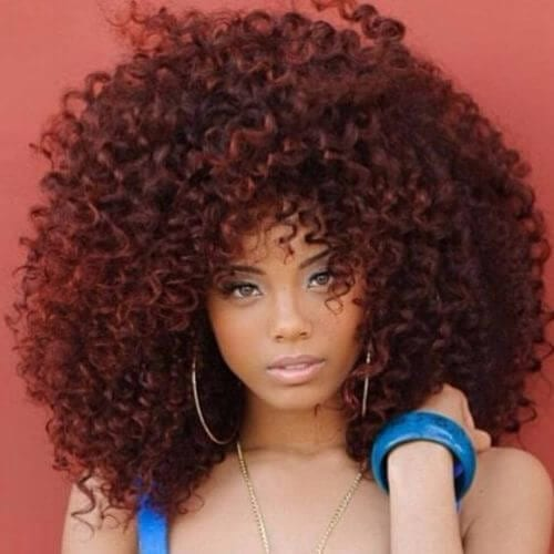 natural hairstyles for very long curly red hair