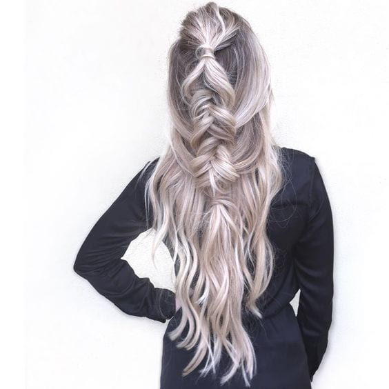long messy braid grey hair