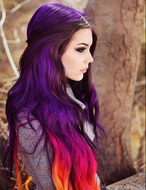 purple hair with pink, orange, and yellow ombre