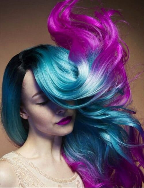 turquoise ombre purple hair