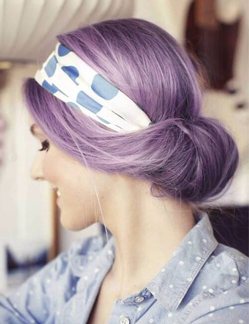vintage hairdo purple hair